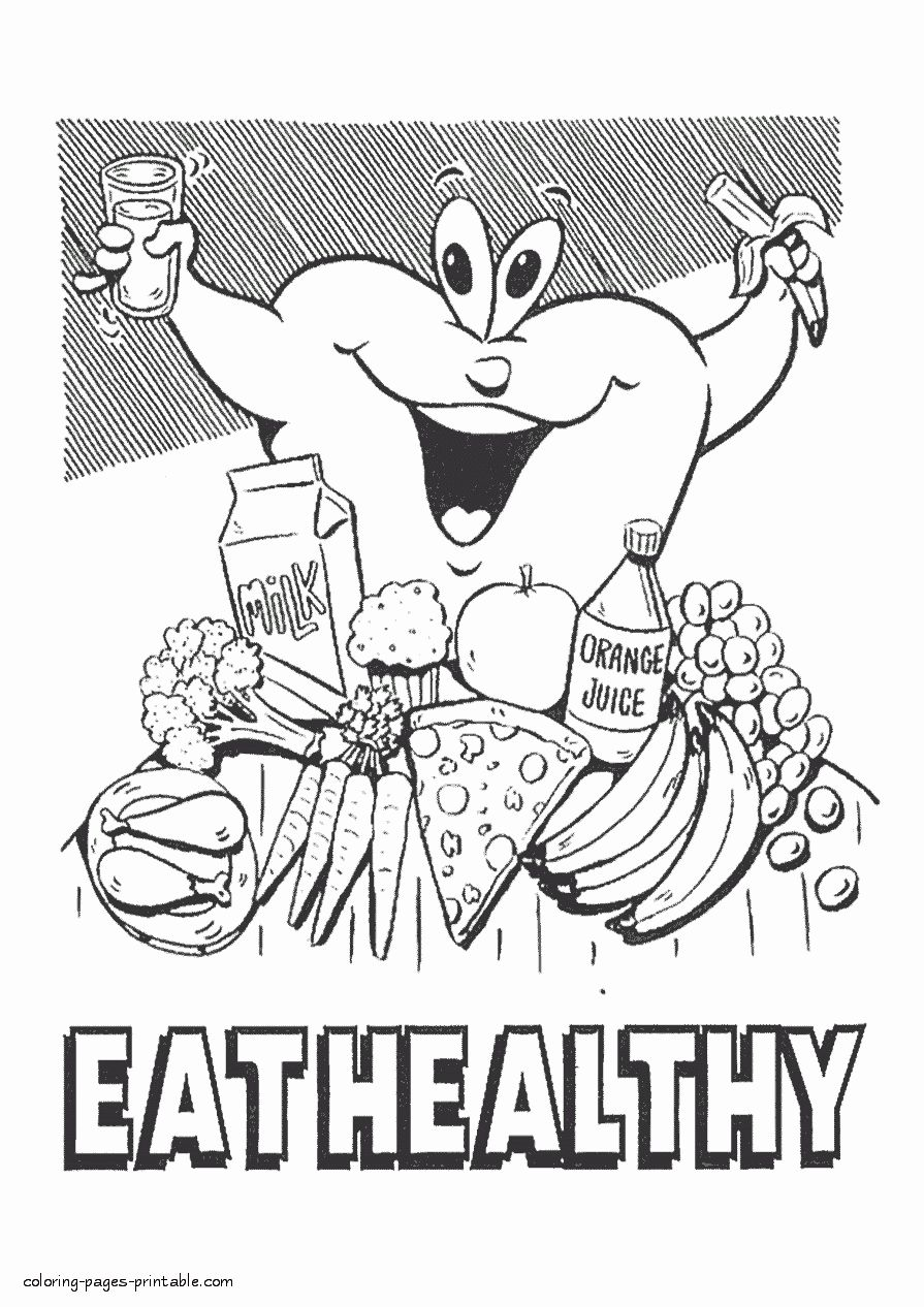Fruit And Veggie Coloring Pages Lovely Printable Food Coloring Pages Eat Healthy Coloring Page In 2020 Cartoon Coloring Pages Food Coloring Pages Animal Coloring Pages