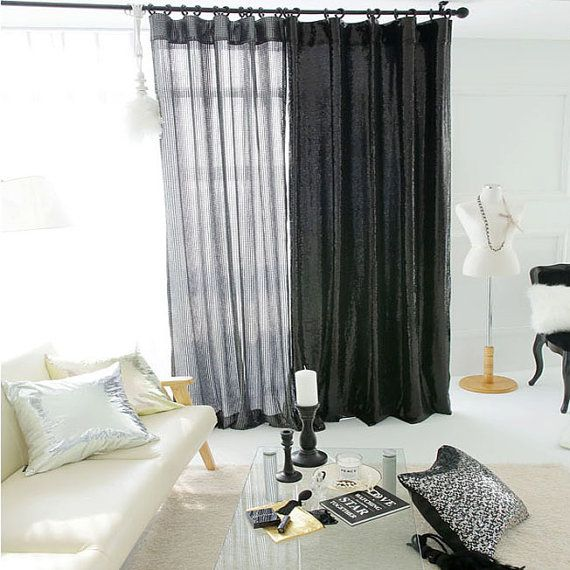 Dazzle Glitter Silver Black Sheer Single Curtain Drapery Panel For Living Room And Bedroom Customized Curtains Pers Curtains Curtains With Blinds My Ideal Home