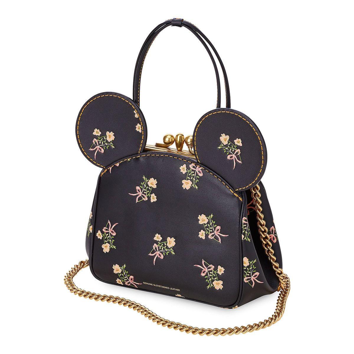 Minnie Mouse Floral Kisslock Leather Bag By Coach Black Bags