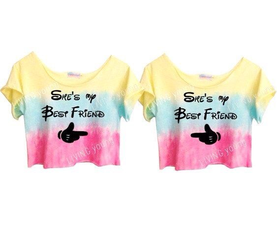 Arrows Pointing at Best Friends Add your own custom text (or art or photos) to our matching Best Friend Shirts with Arrows! Just remember, when taking selfies for Instagram, be sure you are standing on the right side of one another, so that the arrows point correclty.