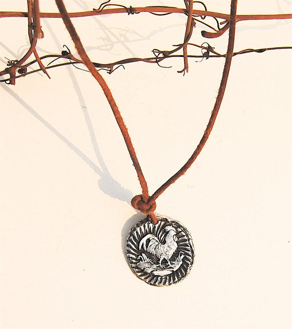 Rooster Pendant Fine Silver Medallion on by codysanantonio on Etsy, $80.00