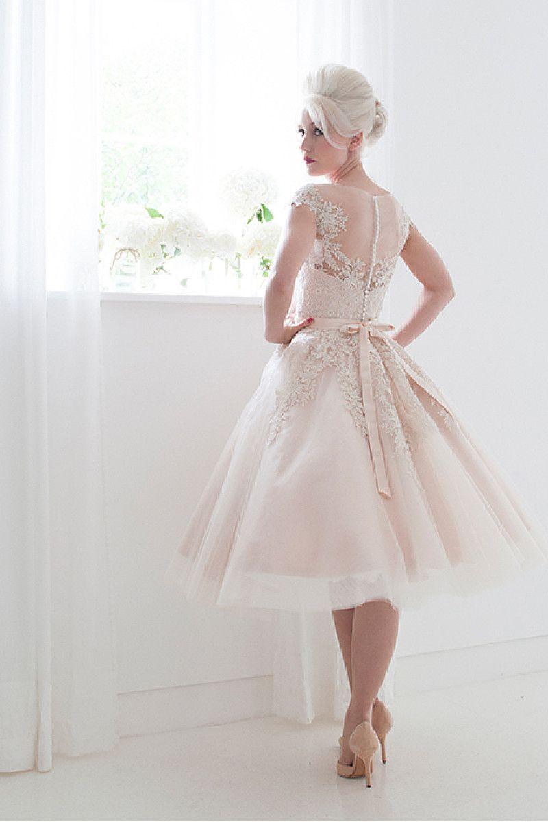 Bateau applique button tulle short wedding dresses by okdress uk
