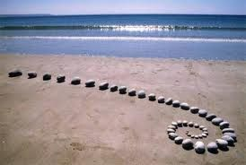 andy goldsworthy land art stone spiral snail shape at the beach