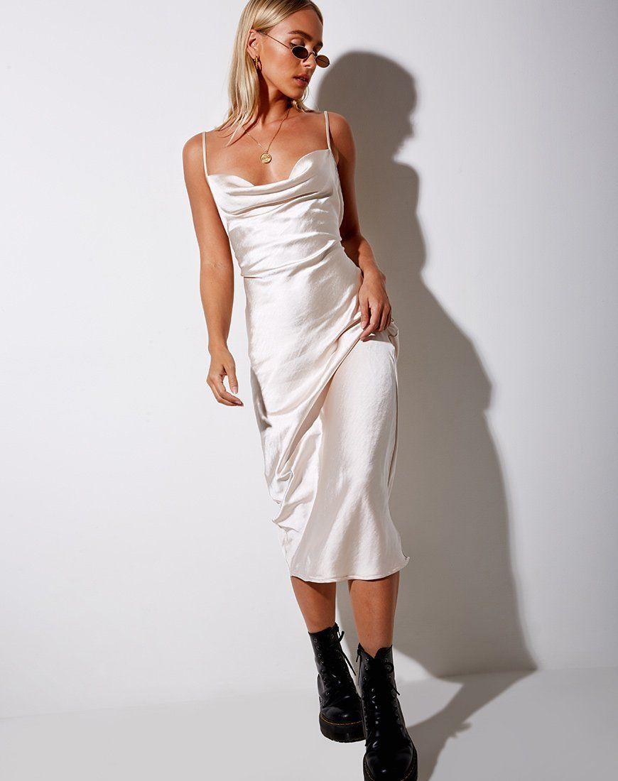 Palasha Midi Dress In Satin Ivory Silk Dresses Outfit Satin Dress Long Silk Dress Vintage [ 1100 x 870 Pixel ]