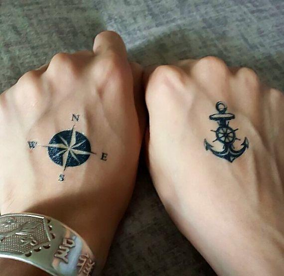 2pcs anchor compass temporary tattoo fake tattoo