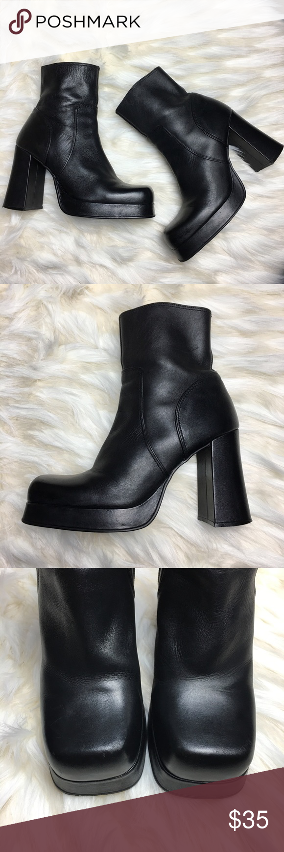 9a7607300ba Vintage 90s Chunky Boots Excellent Vintage Condition. Upper Leather ...