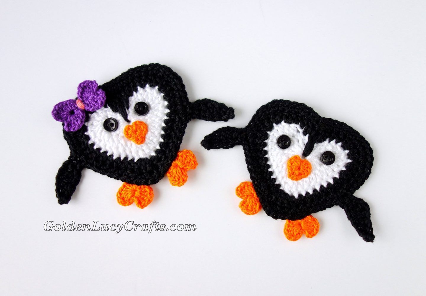 Crochet Penguin Applique, Free Crochet Pattern – GoldenLucyCrafts #crochetapplicates