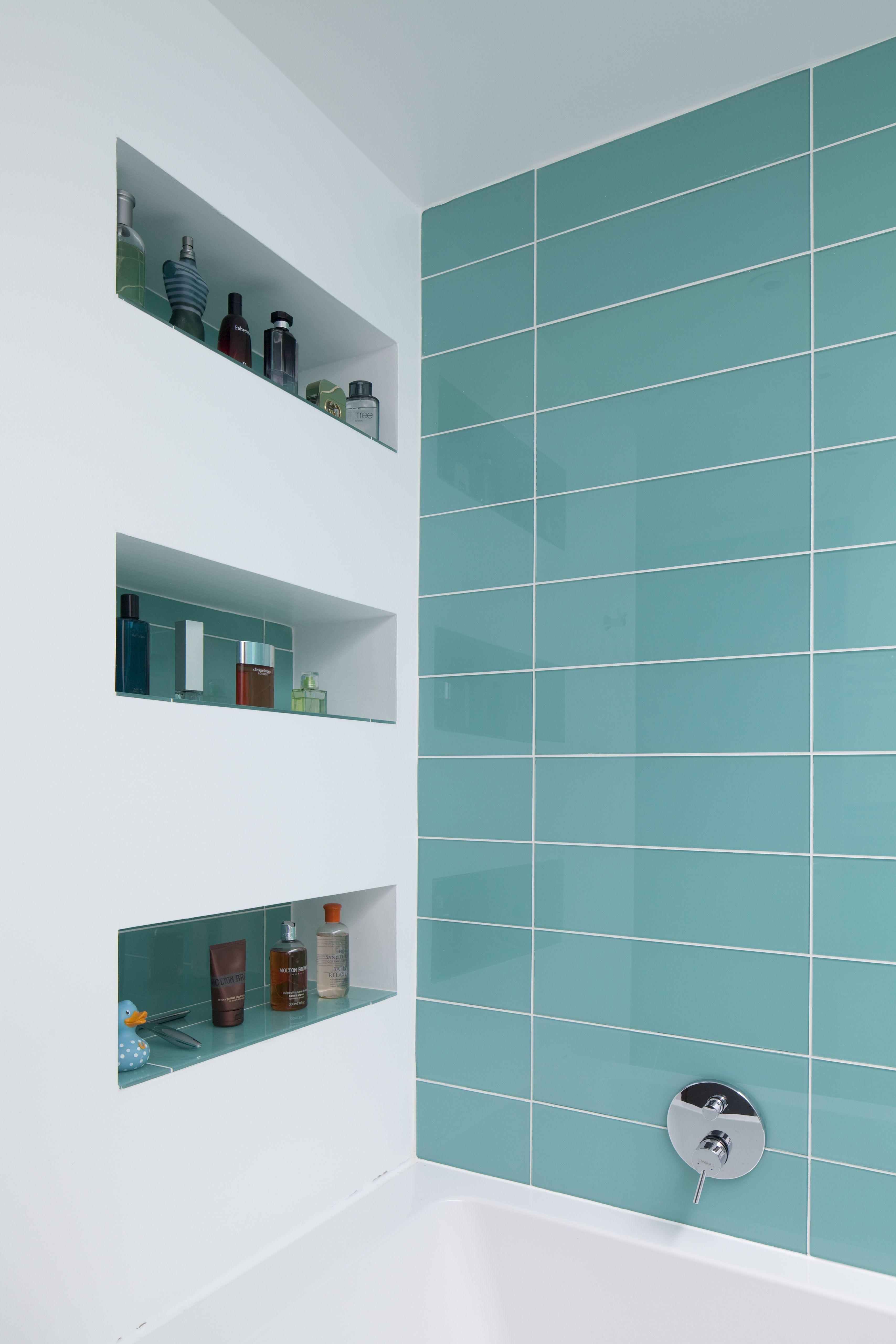 Feature Bold Colour To Bathroom Tiles Built In Wall Niche Shelves Interior Design Bath