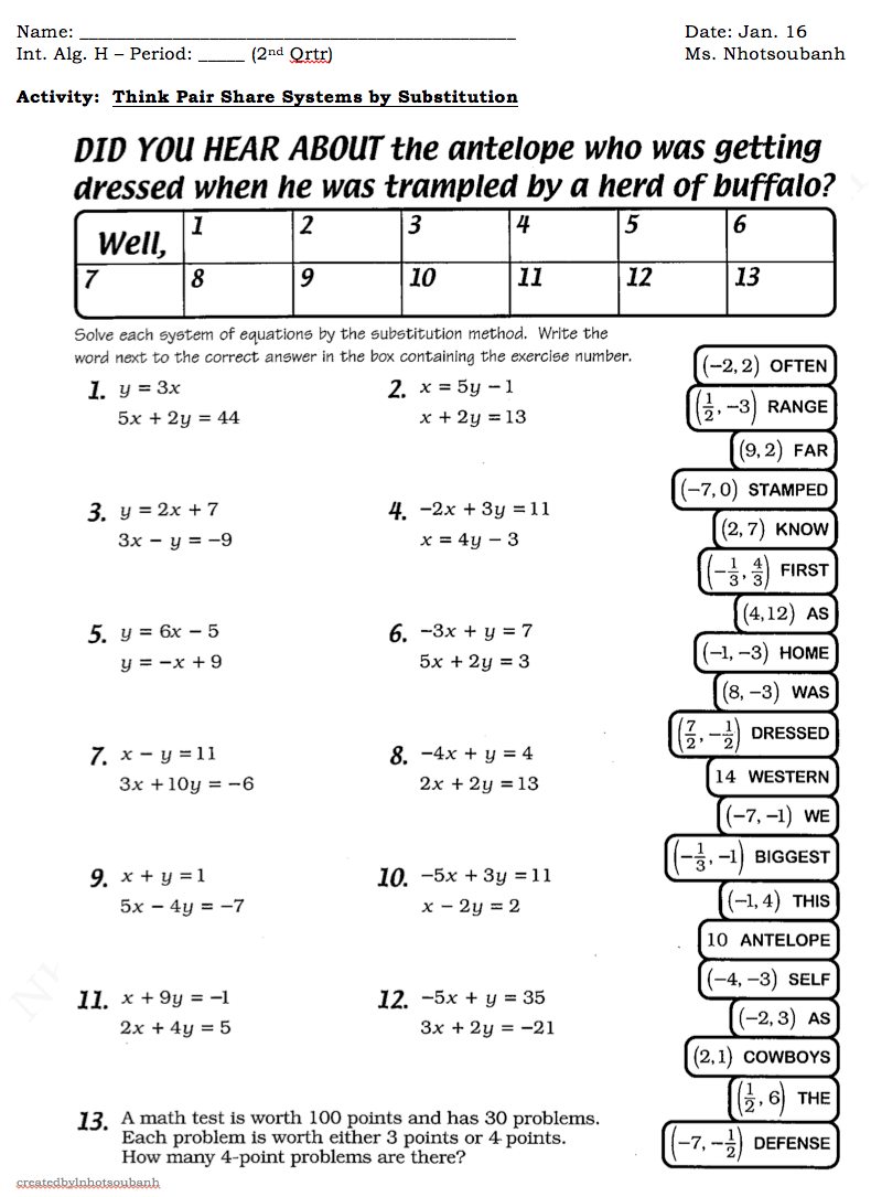 Substitution As Well System Of Equations Substitution Worksheet