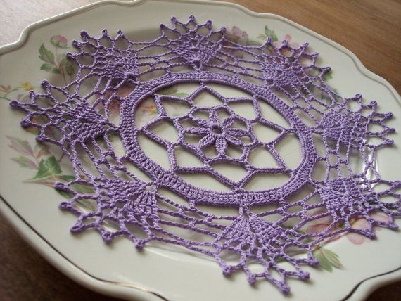 Doily in Lavender Bamboo / Round Doily / by ArtisticNeedleWork
