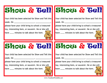 A teddy bear decorates this colorful Show and Tell note that can