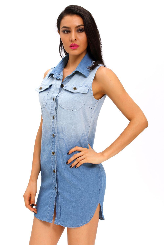 900f2cedf6e6e Button Down Sleeveless Denim Shirt Dress   Mini Dresses   Sleeveless ...