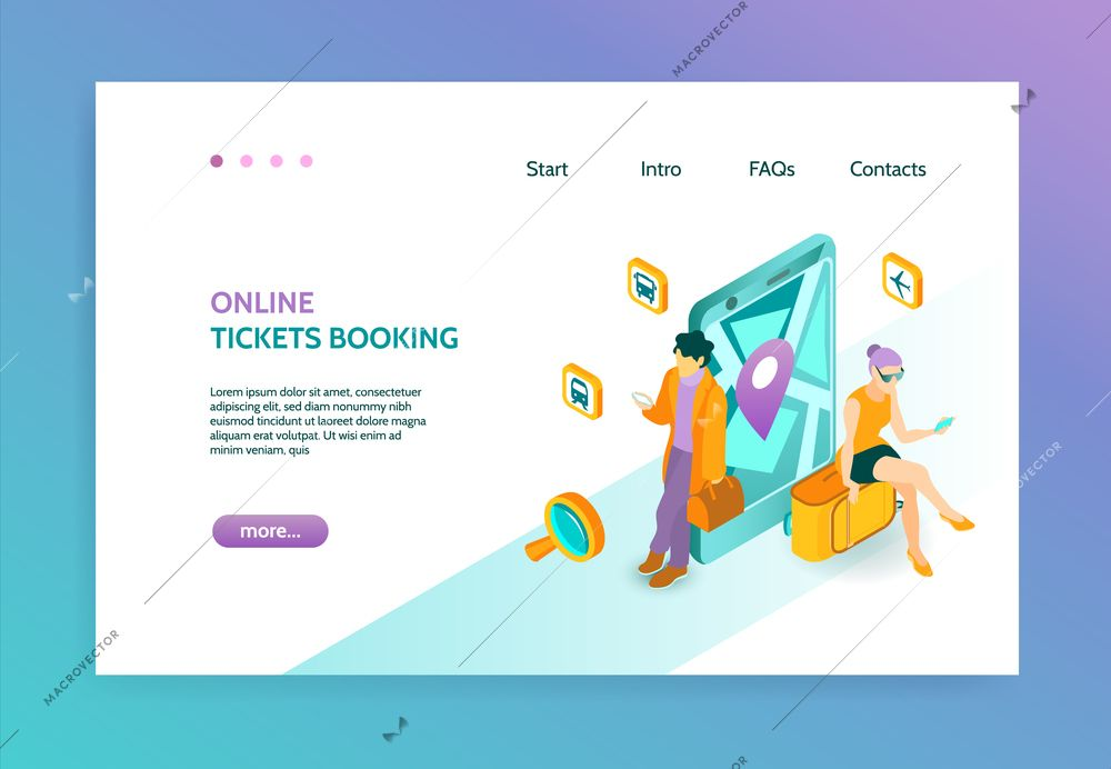 Online Booking Isometric Landing Page With People Who Book Tickets With Help Of Gadgets Vector Illustration Isometric Vector Illustration Who Book
