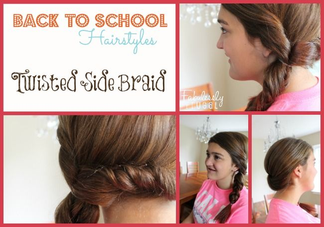 Back to School Hairstyles - Twisted Side Braid - Fabulessly Frugal