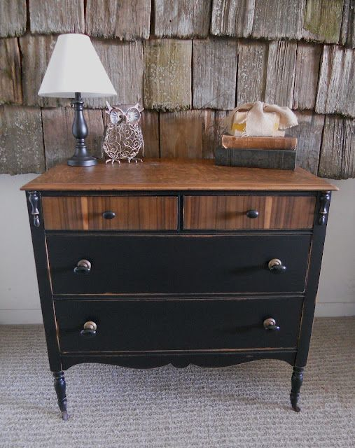 Black distressed dresser with wood top Furniture Rehab Pinterest