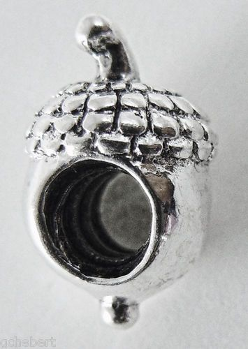 Acorn Silver Plate Large Hole European Bead Charm In 3 Dimensions