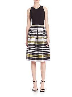 Carmen Marc Valvo - Box Pleated A-Line Striped Dress