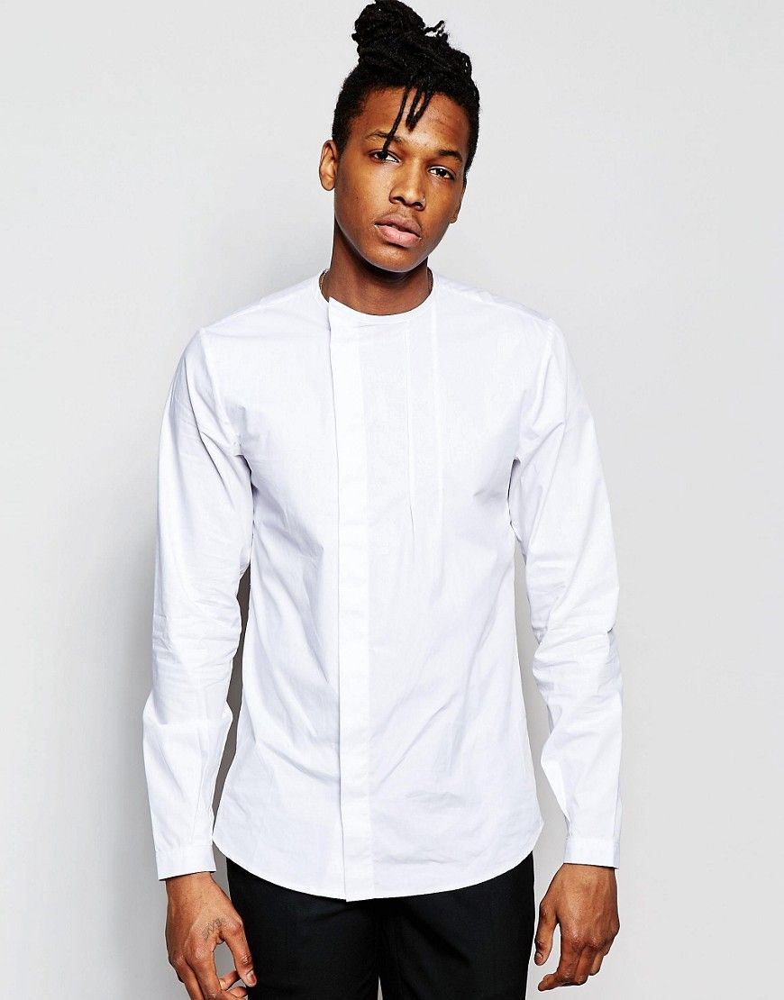 a997c06a77 Image 1 of Rogues Of London Grandad Collar Shirt with Concealed Placket In  Skinny Fit