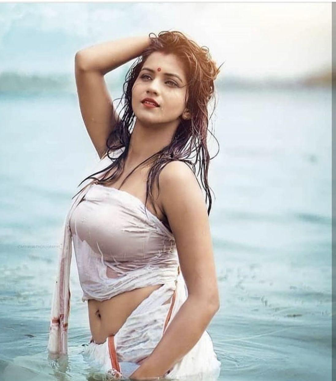 upcoming actress Haritha hot clevage and navel show stills
