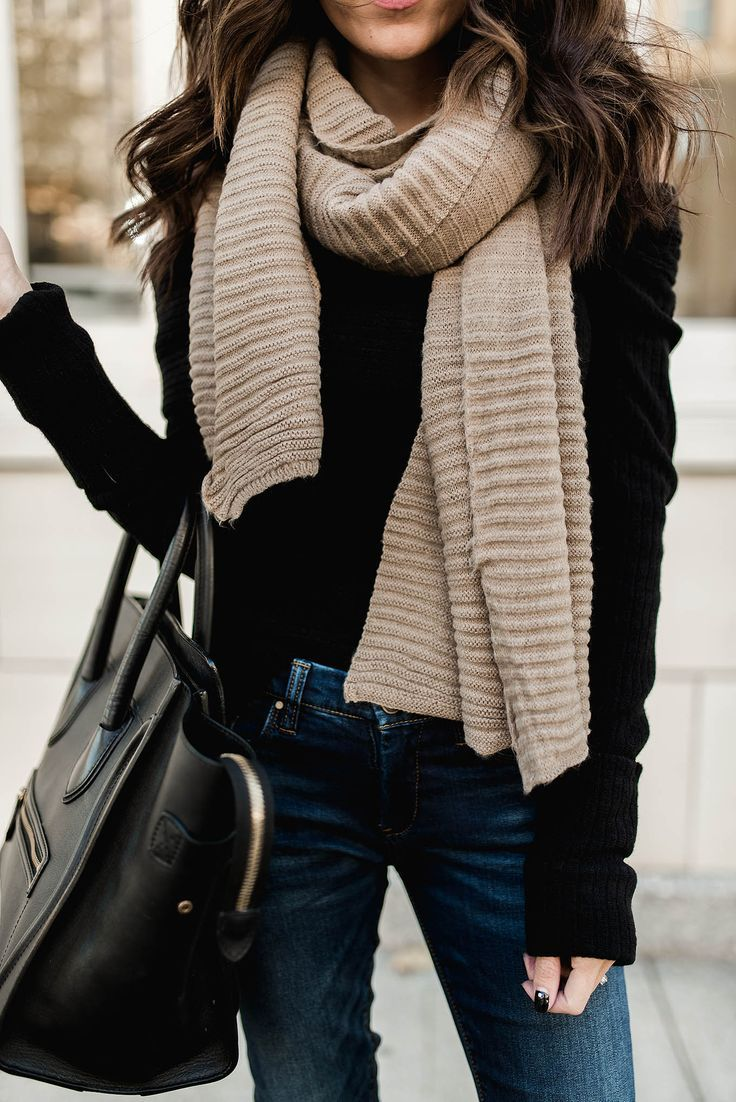 Black sweater and beige blanket scarf | cozy winter style | Pinterest