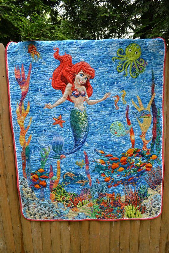 Modern Art Quilt Mod Mermaid Under The Sea Princess Little