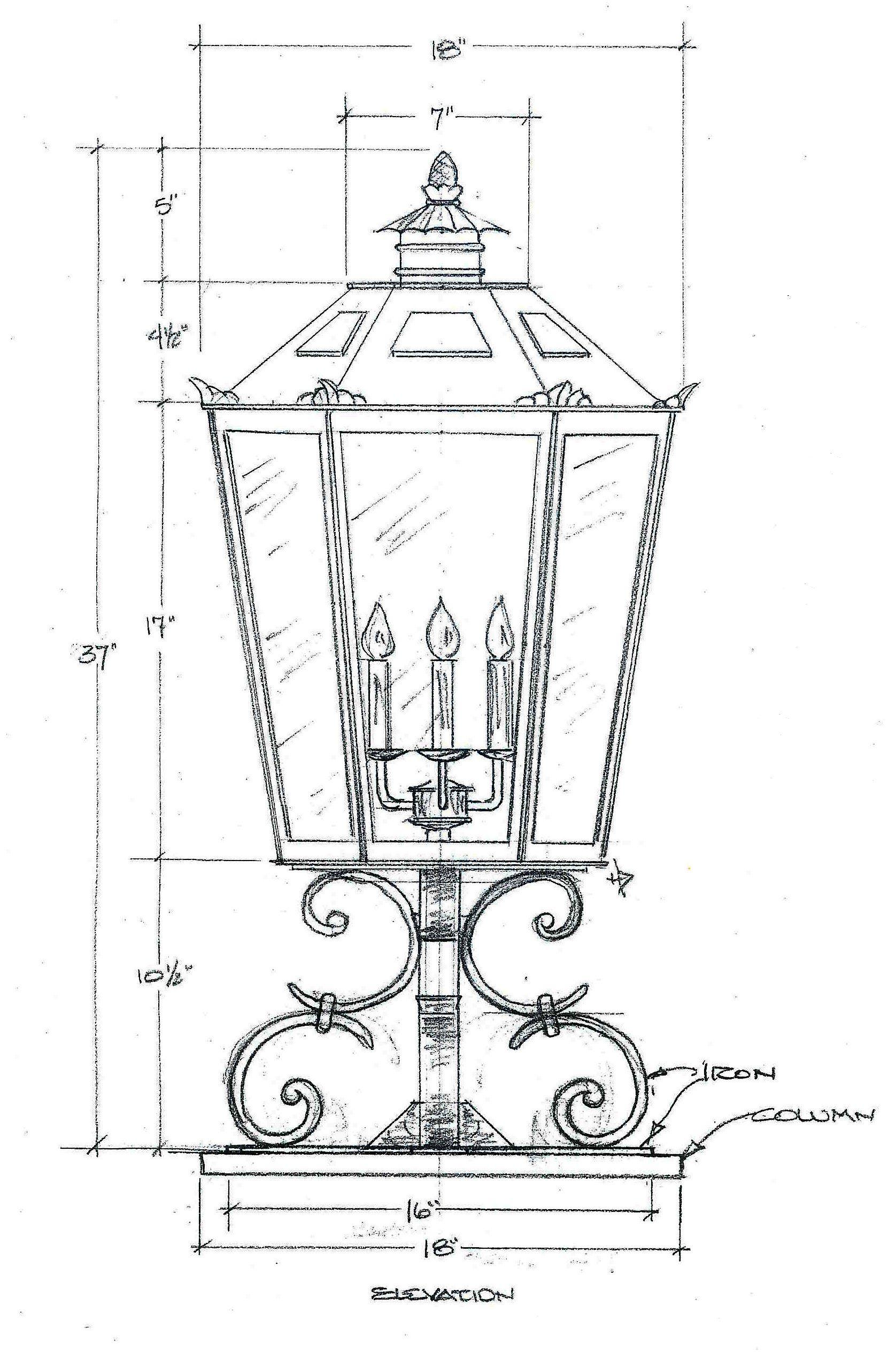 Custom exterior post head fixture drawing