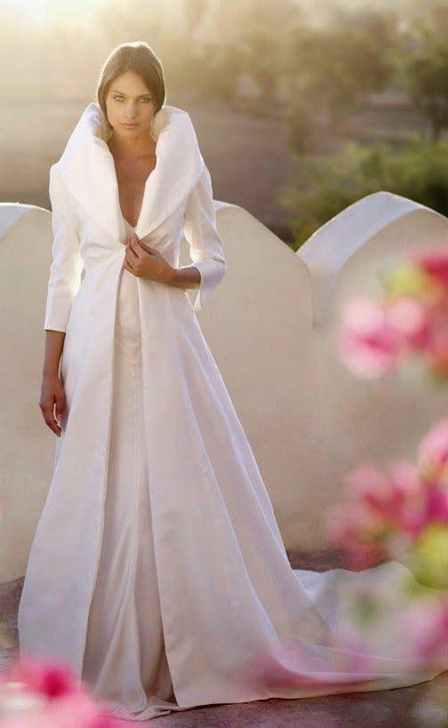 Abrigo blanco entallado para novias.|Novias de invierno