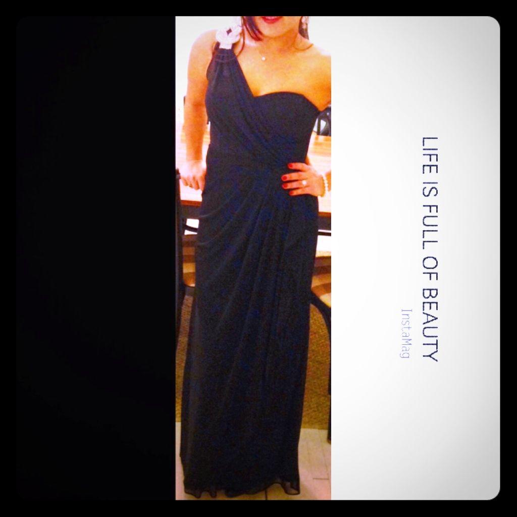 1 Swarovski Shoulder Long Black Evening Gown   Long black evening ...