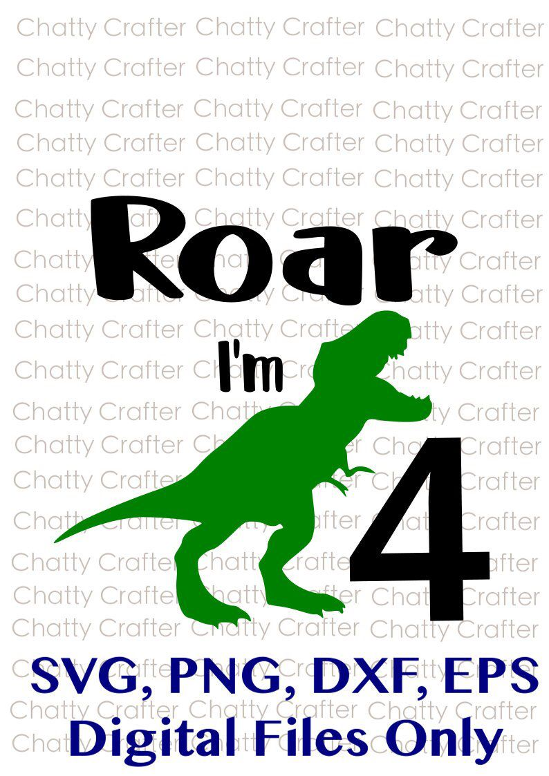 T Rex Svg Free : Excited, Share, #etsy, Shop:, Four,, Fourth, Birthday,, T-rex,, Dino,, Dinosaur,, Dinosaur, Kids,, Birthday, Boys,