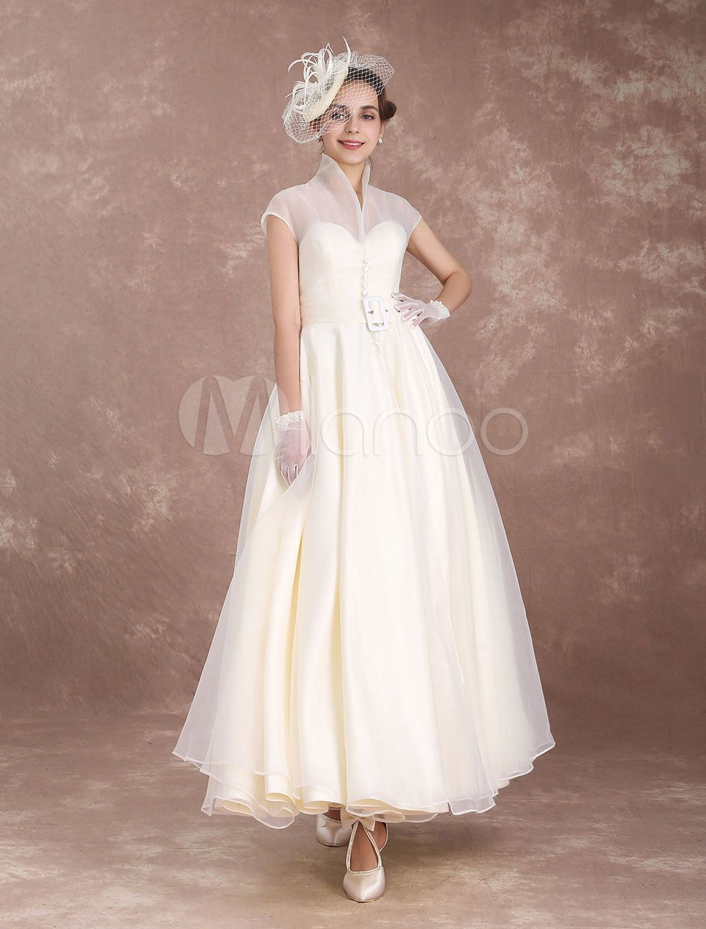 Vintage Wedding Dress Ivory Short Bridal Dress Detachable