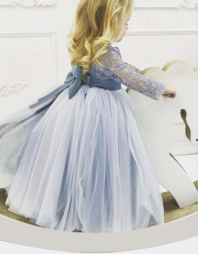 c2604dfa123 Long Sleeve Lace Round Neck Dusty Blue Tulle Flower Girl Dress with  Bowknot
