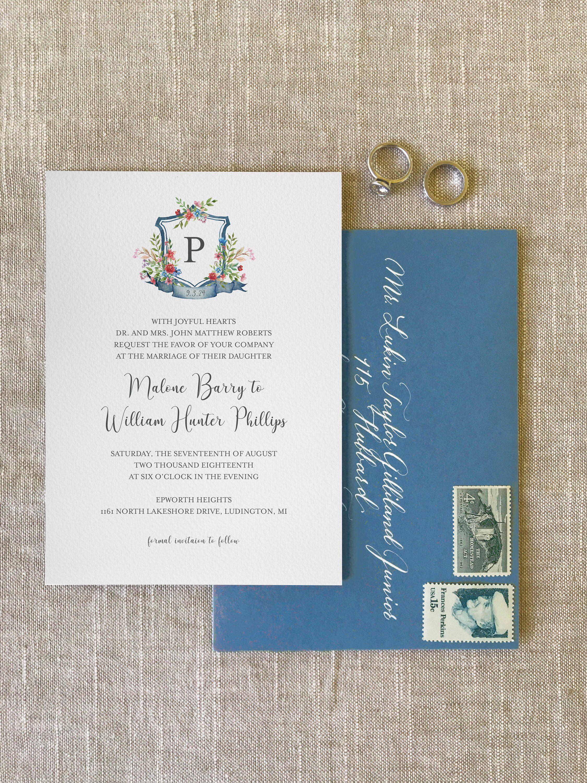 Custom Watercolor Wedding Invitation Custom Wedding Logo