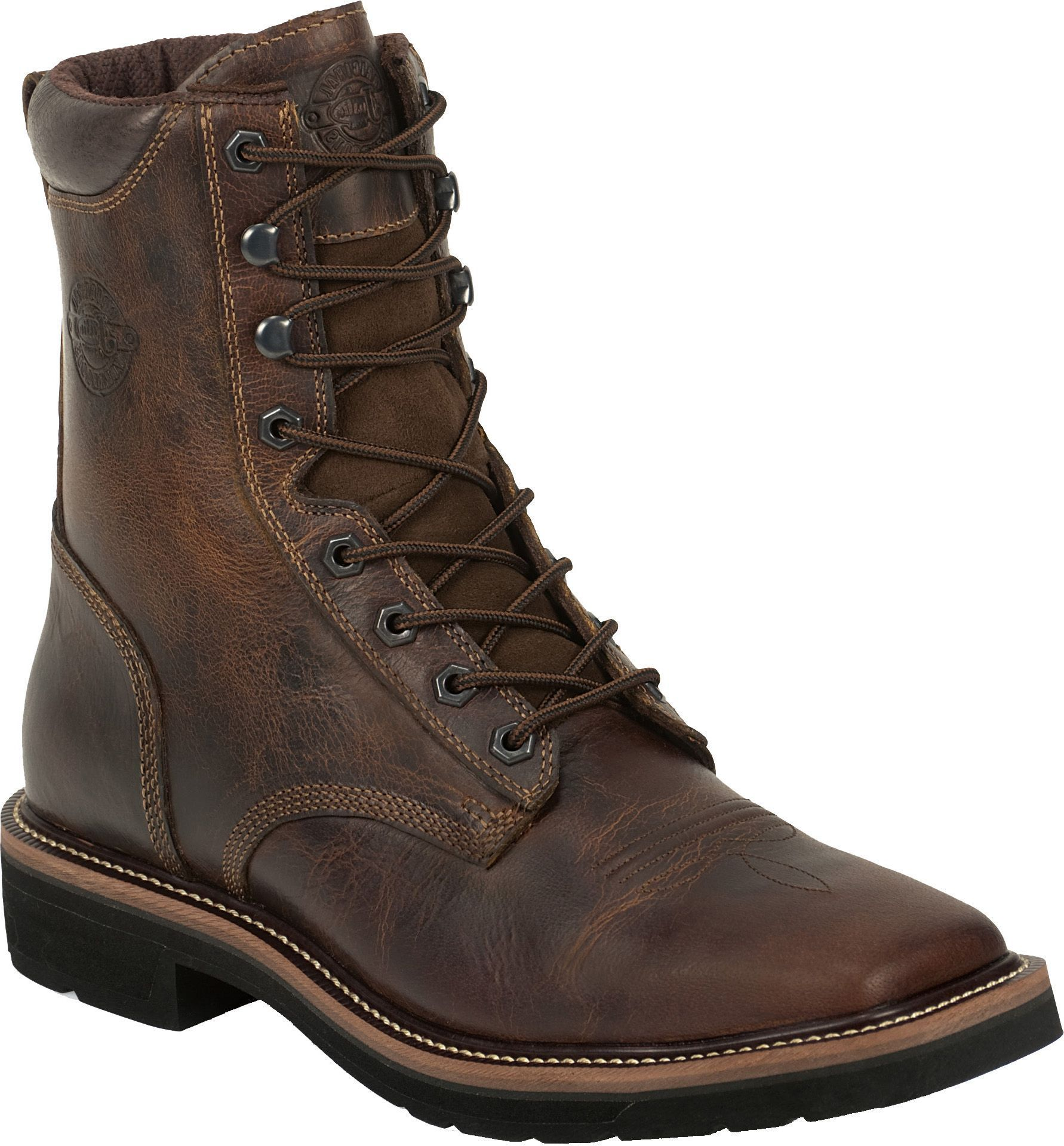 Justin Men S Rugged Tan Stampede Steel Toe Work Boots In