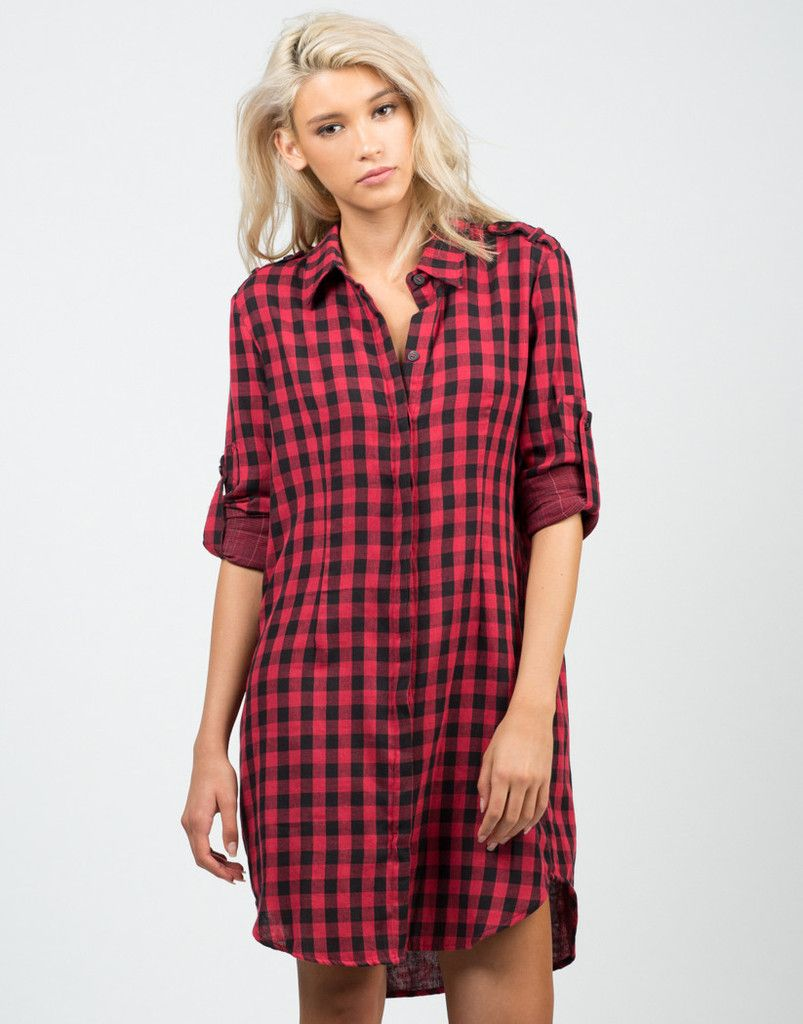 Oversized Checkered Shirt Dress – Tops – 2020AVE