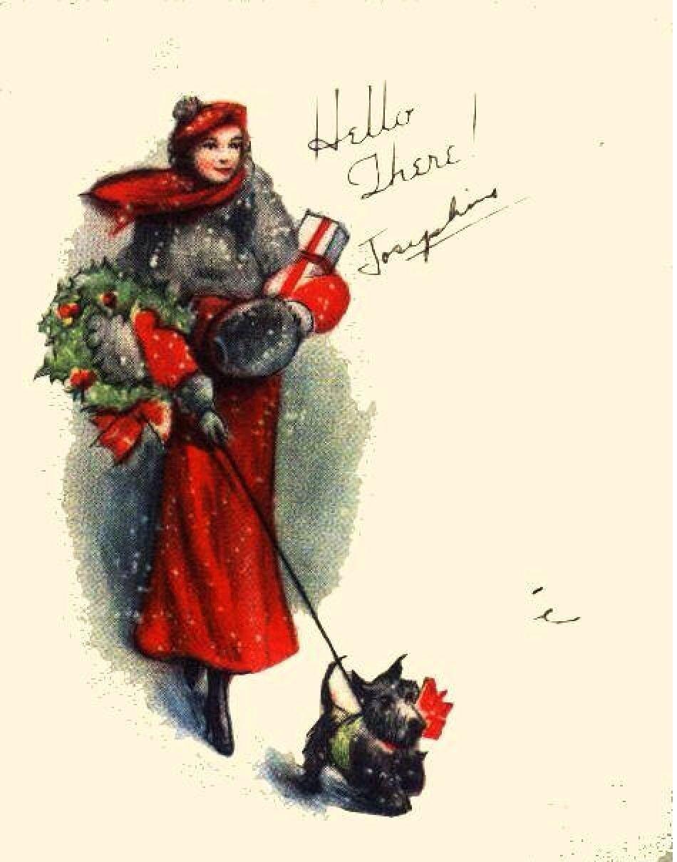 vintage card christmas scottie dog mama weihnachten. Black Bedroom Furniture Sets. Home Design Ideas