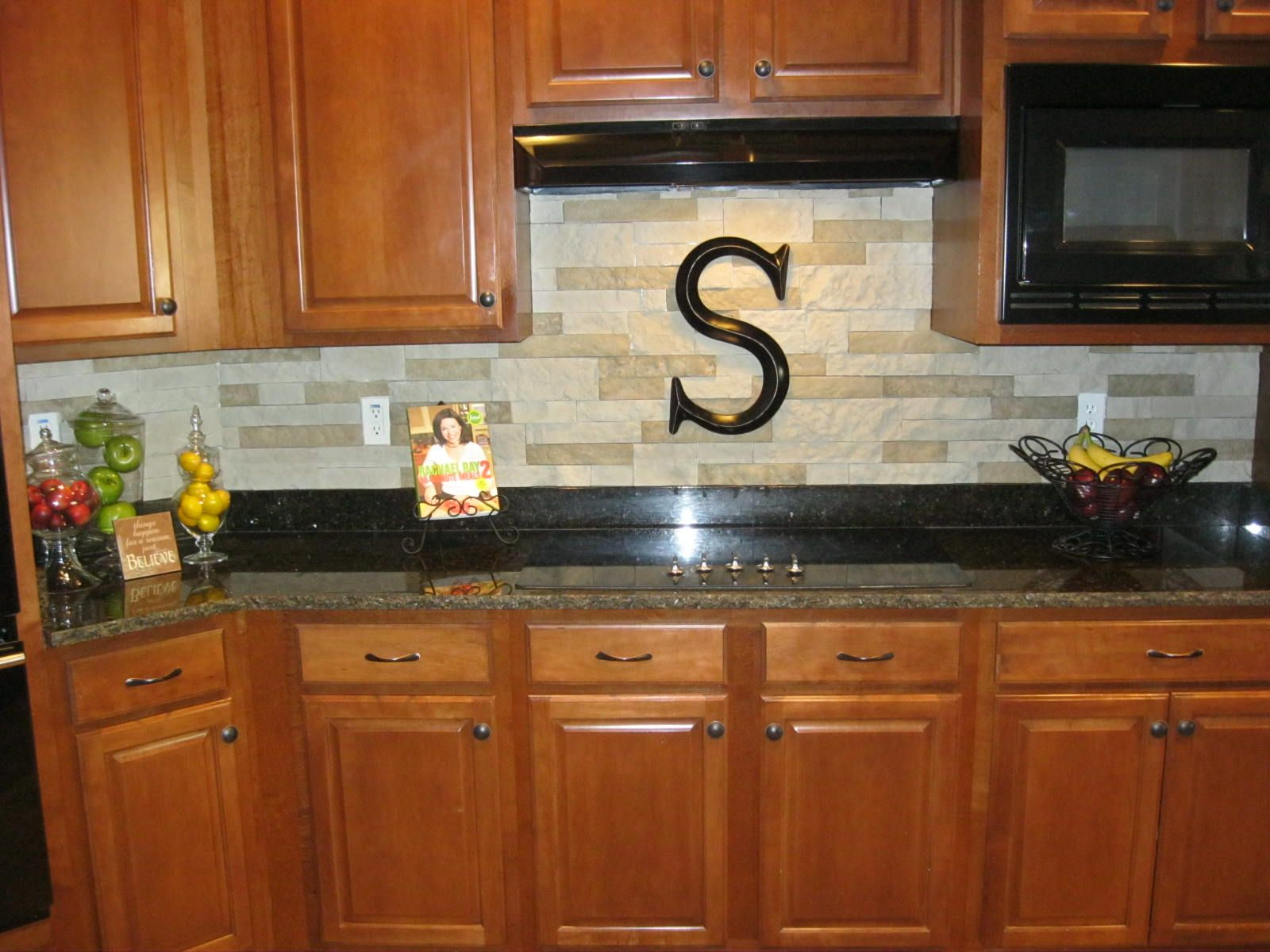 Our new stacked stone backsplash. We used AirStone sold at