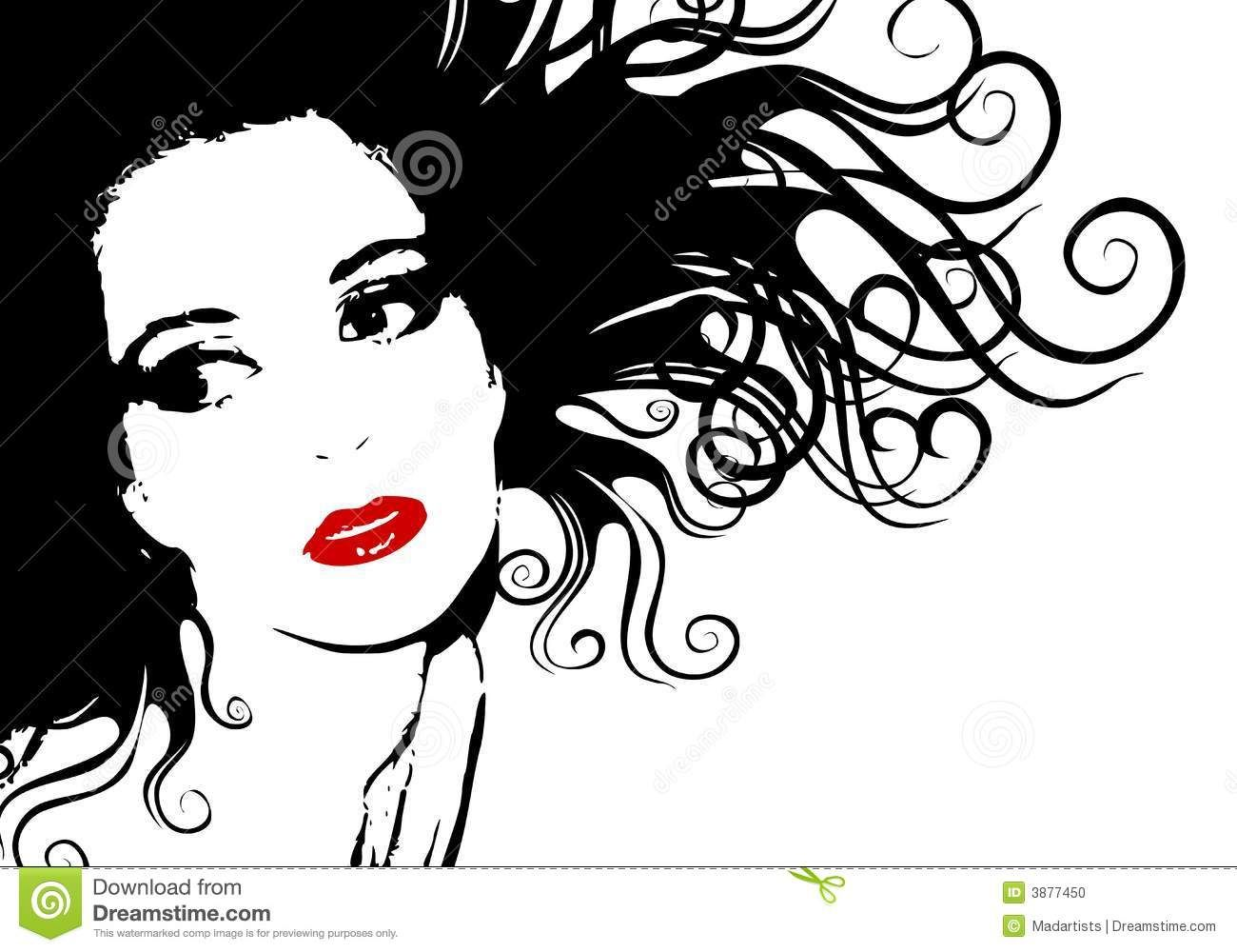 Black and White Female Face Silhouette Outline Great art