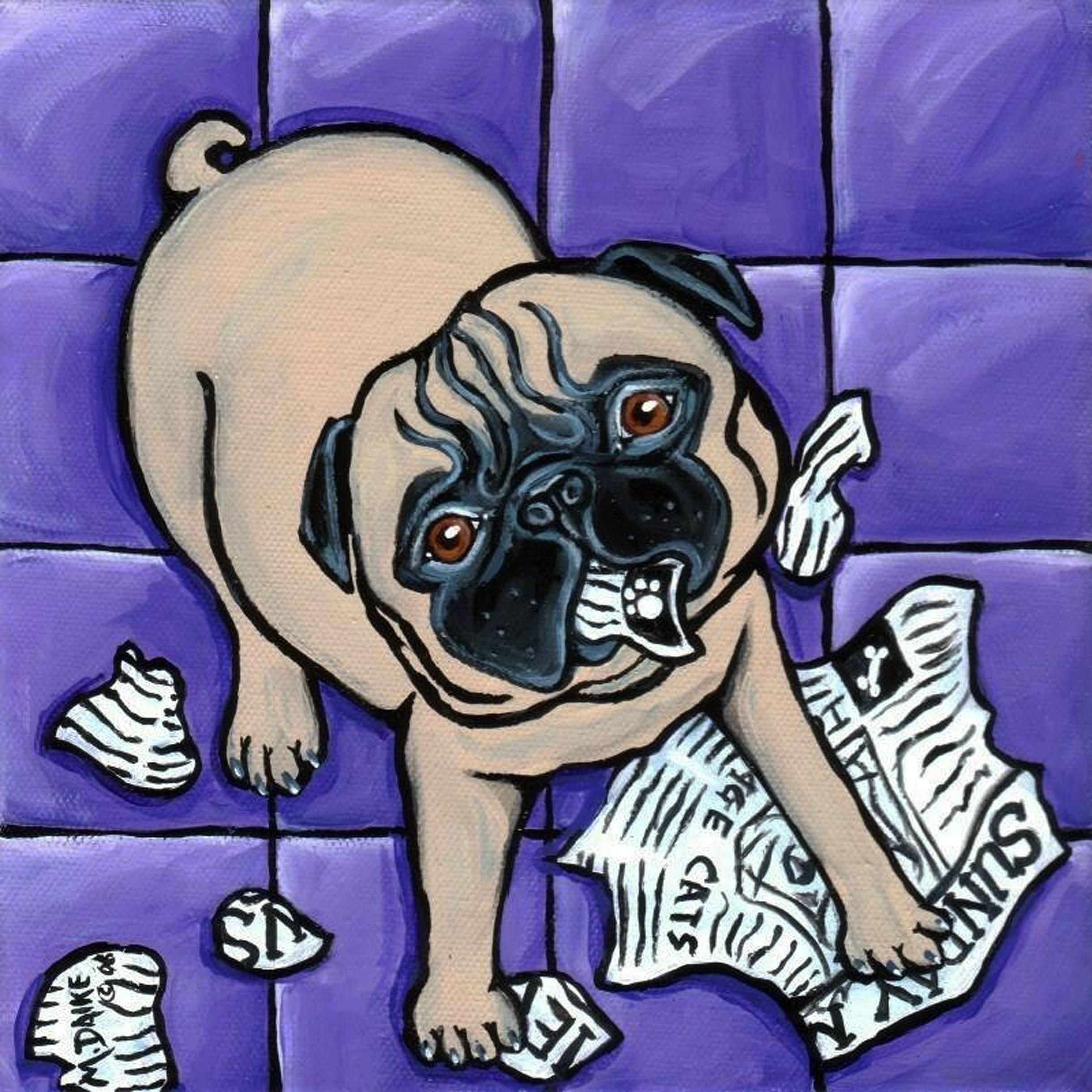 Daily Mews - Pug dog Painting by Pet Art Melinda