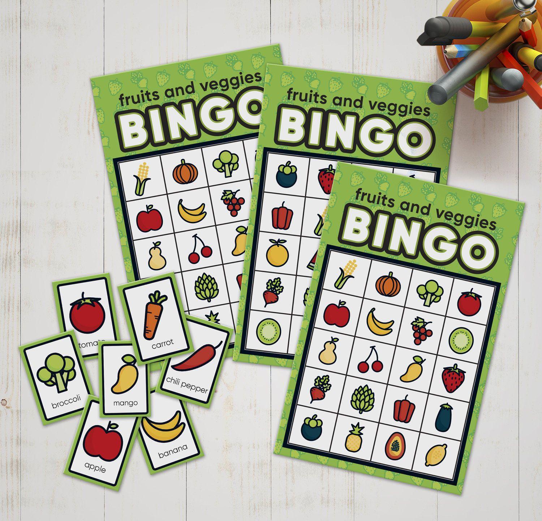 Bingo Game Of Fruit And Veggie Names For Kids