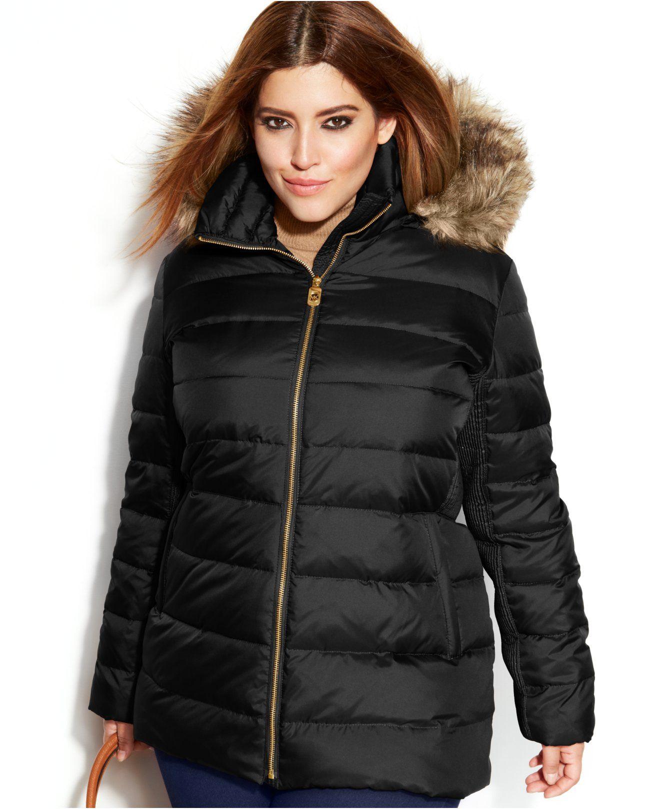 ff7fdcee7c27b MICHAEL Michael Kors Plus Size Hooded Faux-Fur-Trim Down Puffer Coat - Coats  - Plus Sizes - Macy s