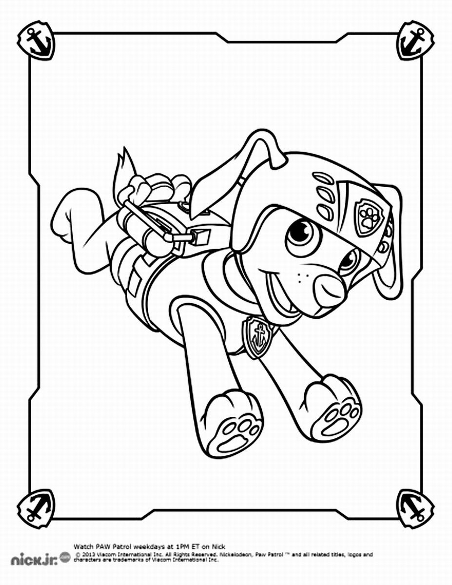 Coloring pages of chase from paw patrol - Zuma Paw Patrol Coloring Pages