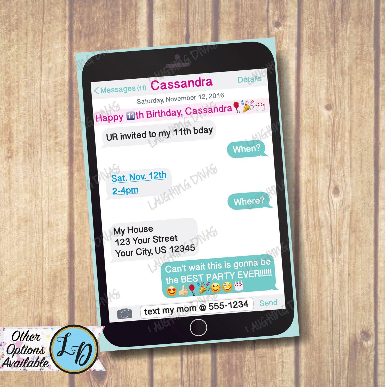 Cellphone Emoji Invitation; Printable Tween Invite; OMG Best Party ...