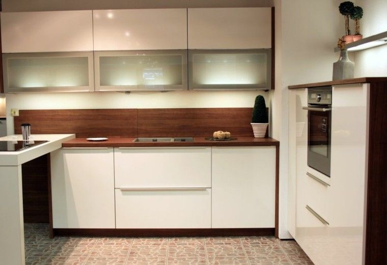 muebles cocina blancos salpicadero madera | Interiores para cocina ...