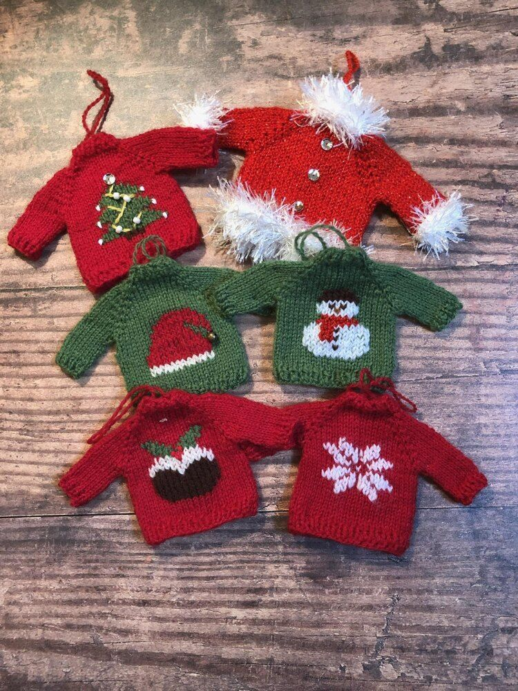 Christmas Sweater Tree Ornaments Knitting Pattern By Cathy Rawcliffe In 2020 Christmas Knitting Patterns Christmas Knitting Patterns Free Knitted Christmas Decorations
