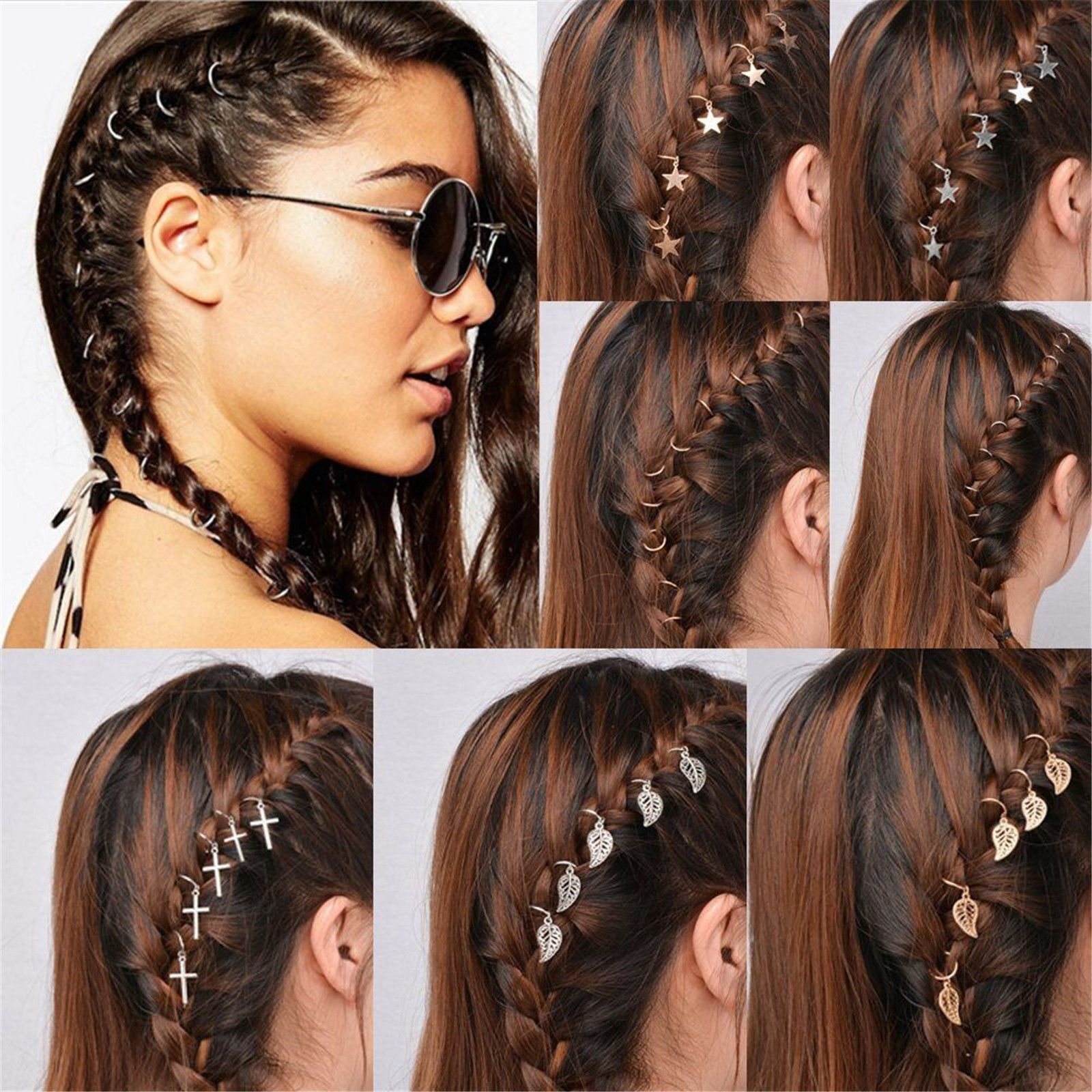 5/10pc punk women hip-hop braid hand cross shell star ring