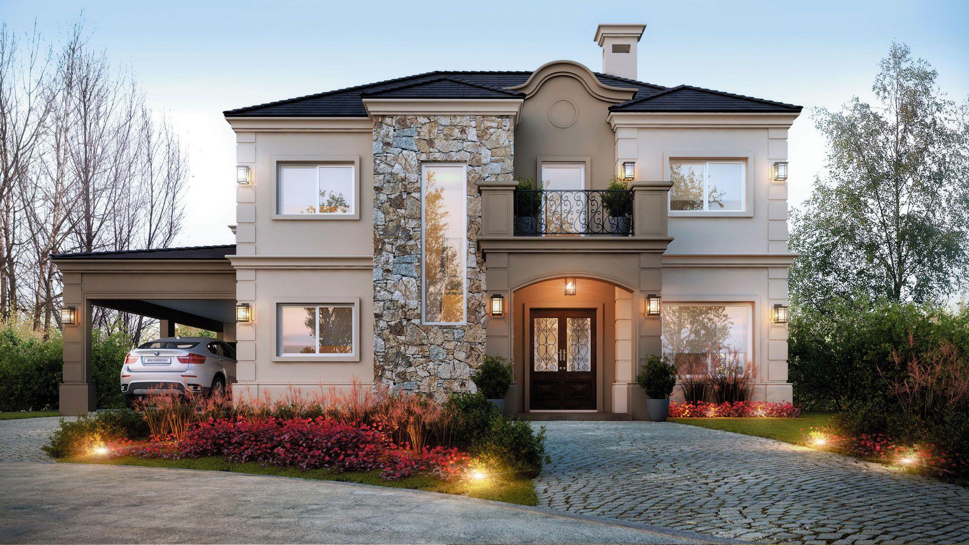 Estudio nf y asociados estilo cl sico moderno casa for Casas modernas clasicas