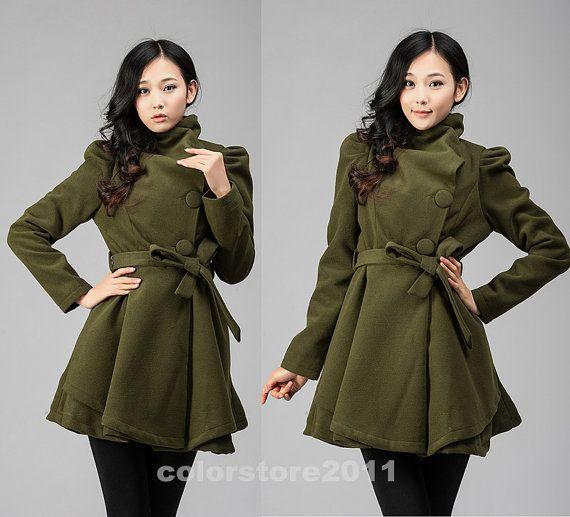 4 colors women's Princess style cape dress Coat jacket with belt Apring autumn winter coat  jacket cute coat dy43 M-XXL