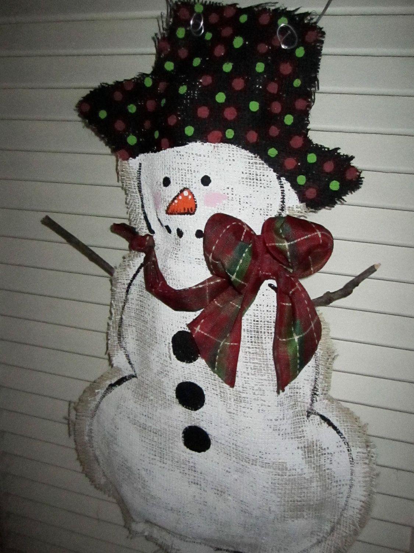 full body snowman christmas burlap door hanger door decoration winter 2800 via etsy - Burlap Christmas Door Decorations