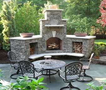Outdoor stone fireplaces and Stone