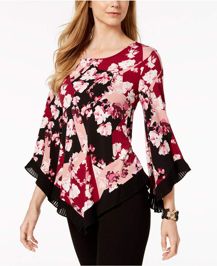 69cc90dd651 Petite Mixed-Print V-Hem Top, Created for Macy's in 2019 | Blusas de ...